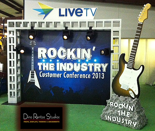 Custom Foam Tradeshow Booth and Display with Large Guitar Prop and Stage Display
