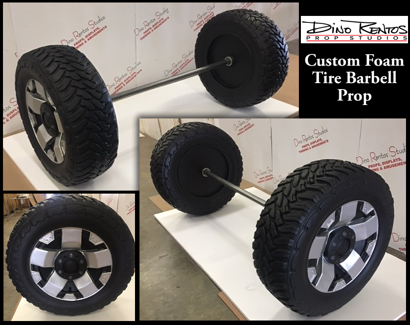 Tire Barbell Prop Sculpture and Display for Tradeshows and Conventions