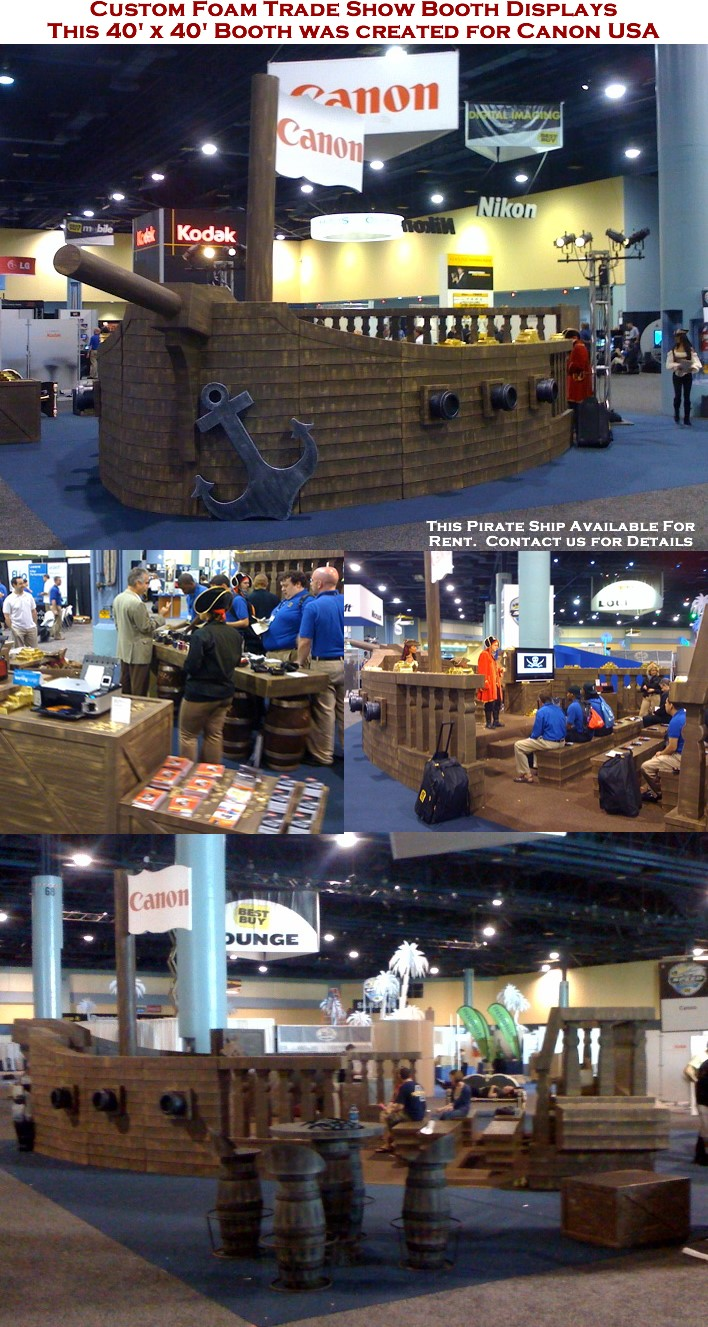 Custom Foam Pirate Ship Tradeshow Booth Display for Canon USA