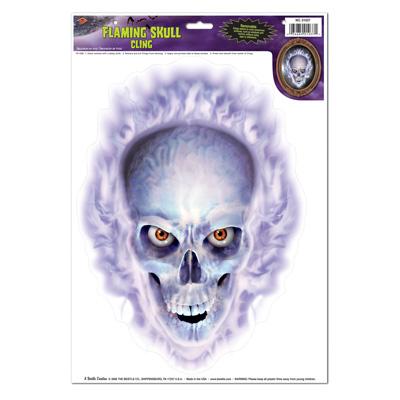 Flaming Skull Cling