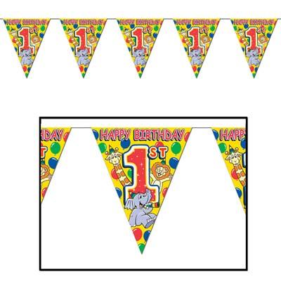 "1st Birthday Pennant Banner 10"" x 12'"