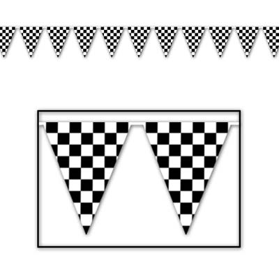 "Checkered Outdoor Pennant Banner 18"" x 30'"