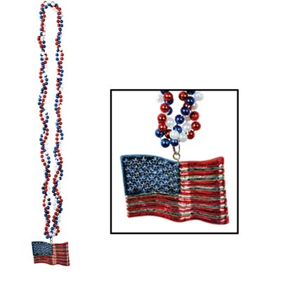 Braided Beads With American Flag Medallion 36""