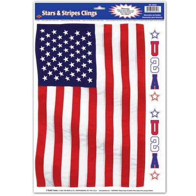 "Stars & Stripes Cling 12"" x 17"""