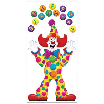 """Birthday Clown Door Cover 30"""" x 5'"""