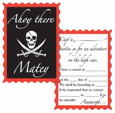 "Pirate Invitations 4"" x 5½"""