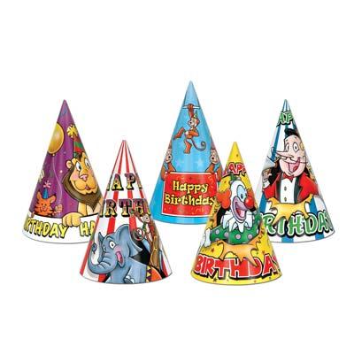 "Circus Birthday Hats 7"""