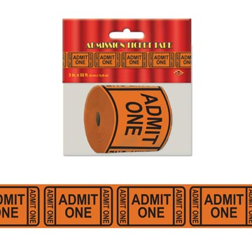 "Admission Ticket Tape Poly Decorating Material 3"" x 50'"