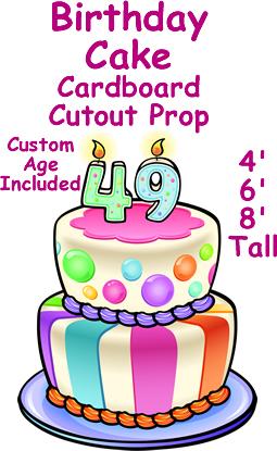 Birthday Cake Cardboard Cutout Standup Prop