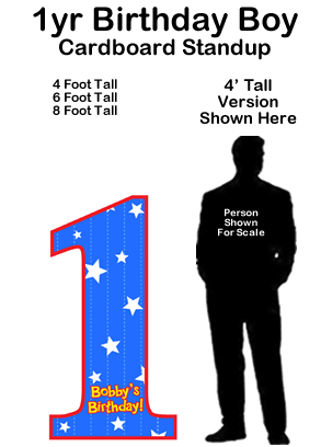 1 Year Birthday Boy Cardboard Cutout Standup Prop