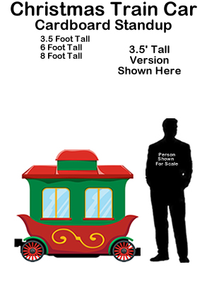 Christmas Train Car Cardboard Cutout Standup Prop
