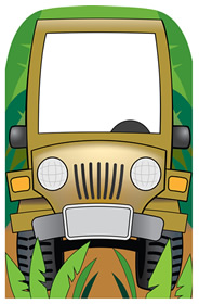 Jungle Jeep Photo Cardboard Stand-In