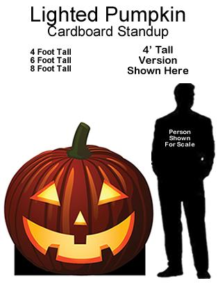 Lighted Pumpkin Cardboard Cutout Standup Prop