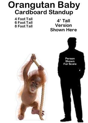 Orangutan Baby Cardboard Cutout Standup Prop