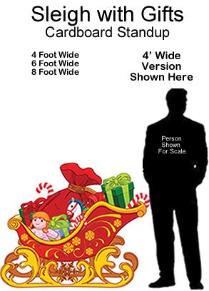 Santa Sleigh with Gifts Cardboard Cutout Standup Prop