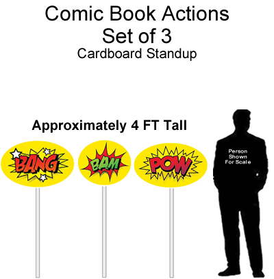 Comic Book Actions Cutout Standup Prop - Self Standing - Set of 3