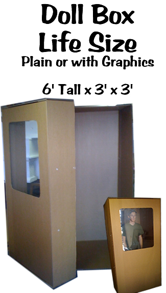 Life Size Doll Box Cardboard Prop