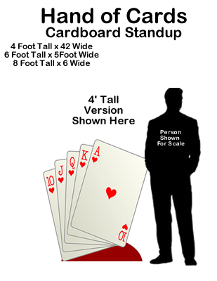Casino Vegas Hand of Cards Cardboard Cutout Standup Prop