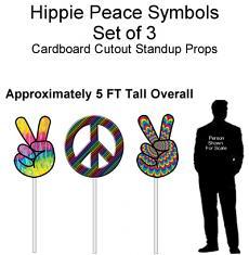 Hippie Peace Symbols Cardboard Cutout Standup Prop - Self Standing - Set of 3