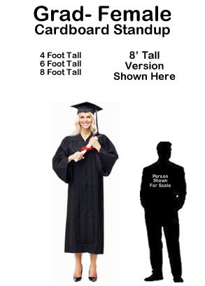 Grad Female Cardboard Cutout Standup Prop