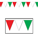 "Red, White & Green Pennant Banner 10"" x 12'"