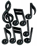 Black Plastic Musical Notes 13""