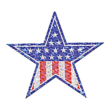 Prismatic Patriotic Star Cutout 14""