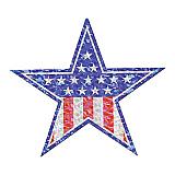 "Prismatic Patriotic Star Cutout 14"""