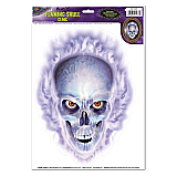 Flaming Skull Cling