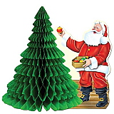 "Santa With Tissue Tree Centerpiece 11"""