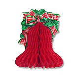 Tissue Christmas Bell With Printed Bow & Holly 10""