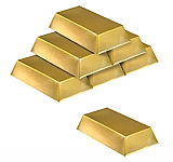 "Plastic Gold Bar Decorations 7"" x 4"" x 1½"" Prop"