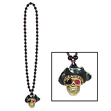 Beads With Flashing Pirate Skull Medallion