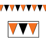 "Orange & Black Outdoor Pennant Banner 18"" x 30'"