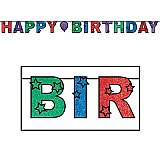 "Glittered Happy Birthday Streamer 8½"" x 10'"