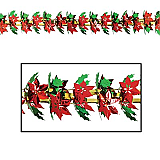 "Poinsettia & Holly Garland 12"" x 9'"