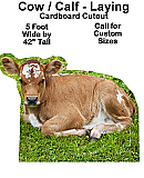 Calf Laying Cardboard Cutout Standup Prop